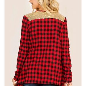 Tops - Buffalo Check / Plaid Cardigan with Gold Accents